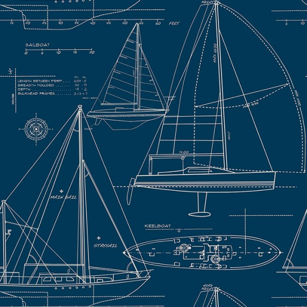 Nautical Wallpaper Geometric Boats-A1D06B