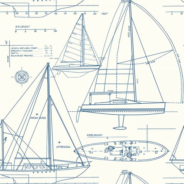 Nautical Wallpaper Geometric Boats-DB5BA0
