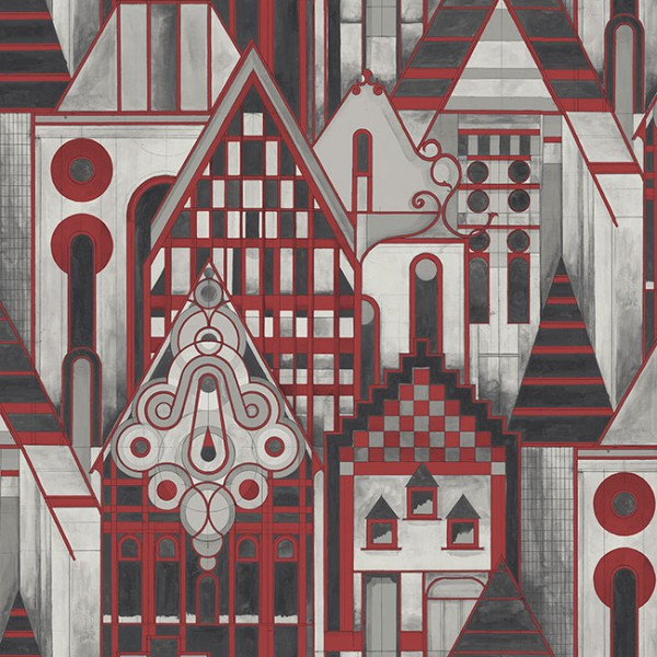 Tapeten Rot Geometric Houses-204544