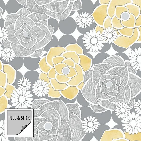 Peel and Stick Wallpaper Water Flowers-163261