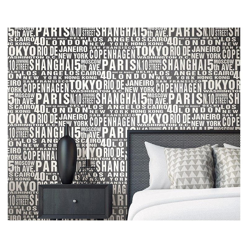 Peel and Stick Wallpaper City Words-300563