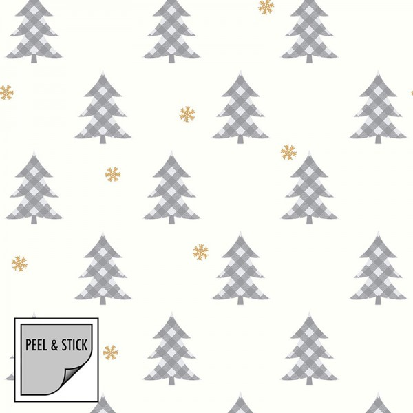 Peel and Stick Wallpaper Snow and Trees-255756