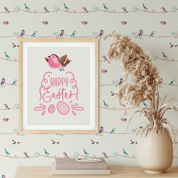Peel and Stick Wallpaper Spring Birds-619101