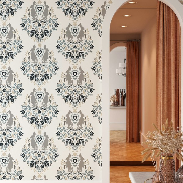 Peel and Stick Wallpaper Bunny Damask-214793