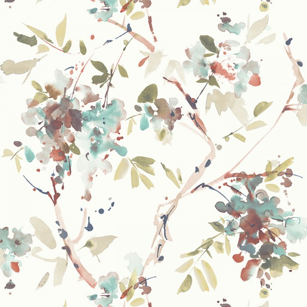 Wallpaper white Ink Floral-124132