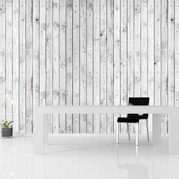 Murals Wood Imitation Painted White-809153