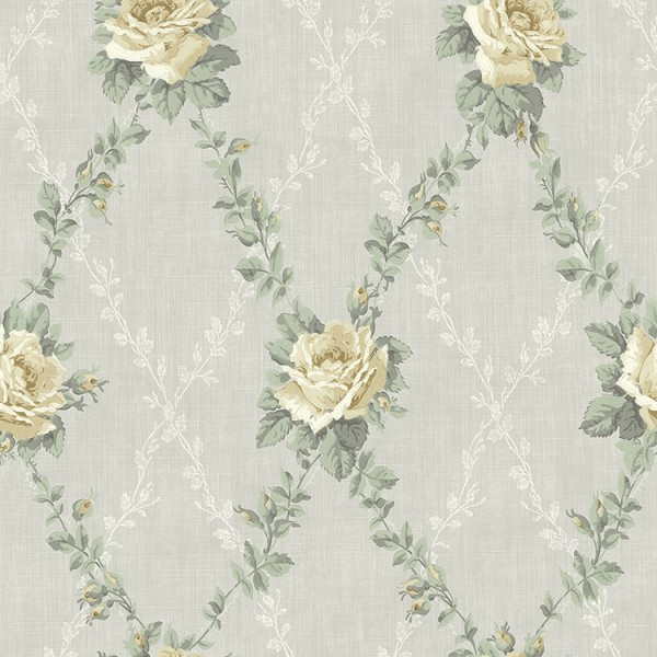 Floral wallpaper Rose Lattice-194202