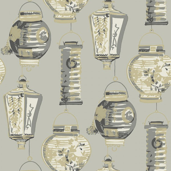 Oriental wallpaper China Lanterns-D8D9AC
